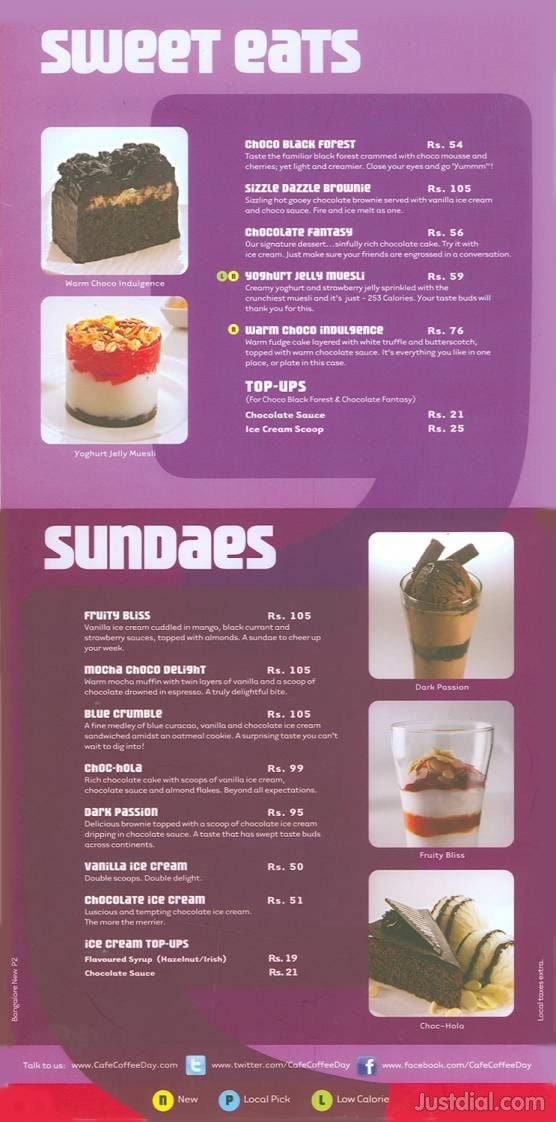 Coffee Day Menu Card With Price Cafe Coffee Day Menu Price