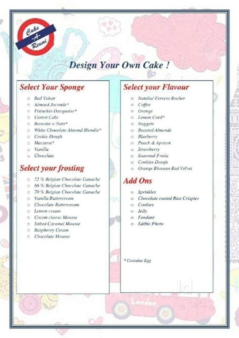 cake a reuni industrial area chandigarh food menu card justdial
