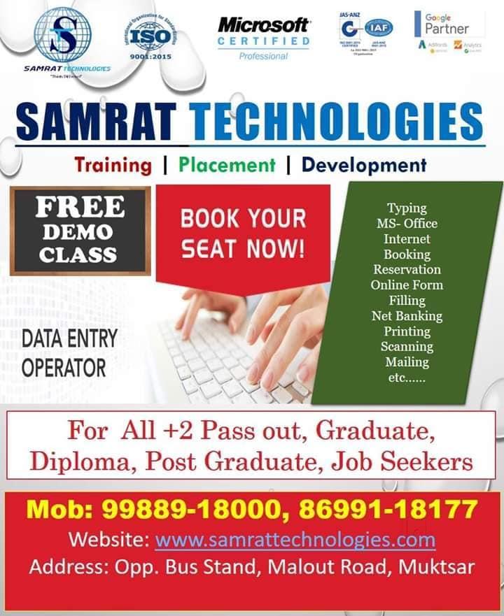 Top Computer Classes in Gidderbaha - Best Computer Training