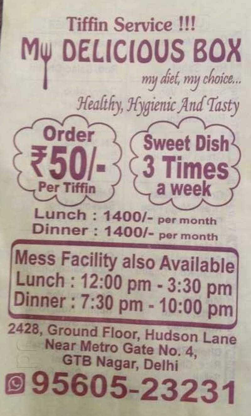 My Delicious Mess, GTB Nagar, Delhi - Food Menu Card - Justdial