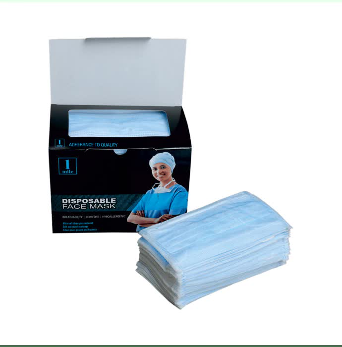 1Mile Disposable 2 Ply Face Mask White - 100pc