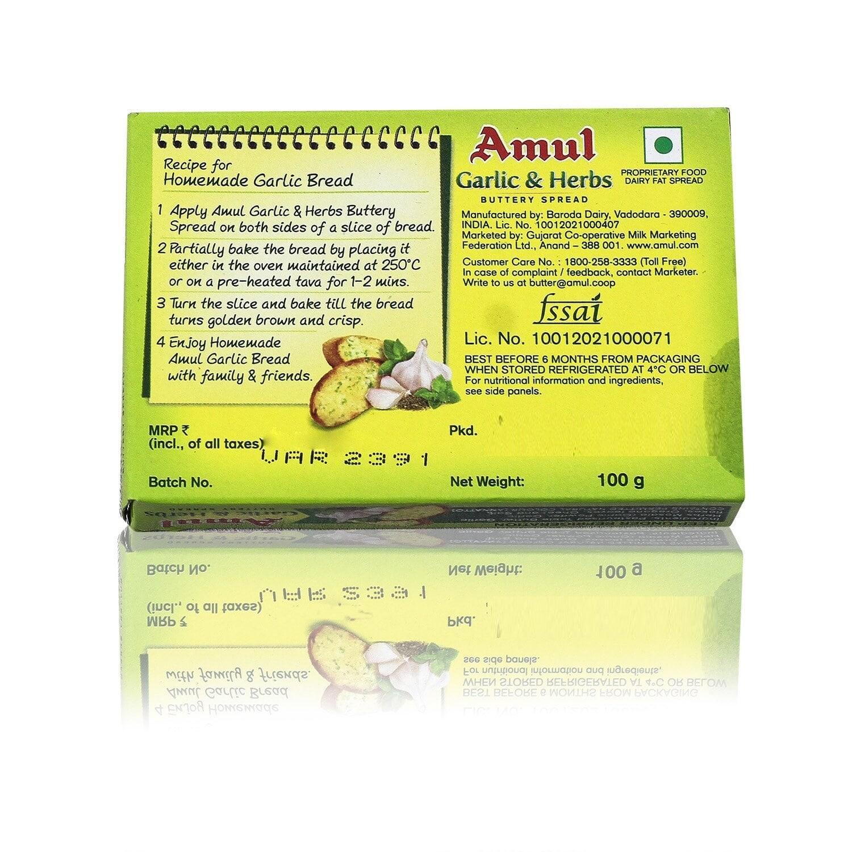 Amul Garlic & Herbs Buttery Spread 100 Gm