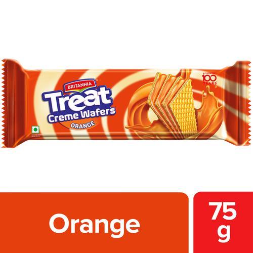 Britannia Treat Creme Wafers Orange 75 Gm