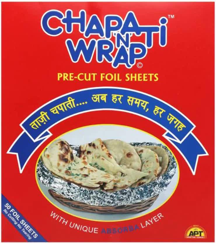 Chapati N Wrap Pre-cut Aluminium Foil Shrinkwrap 50 Pc