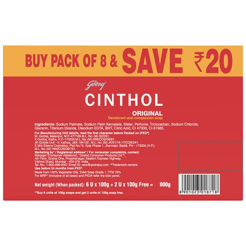 Cinthol Original Soap (Pack Of 8) 100 Gm