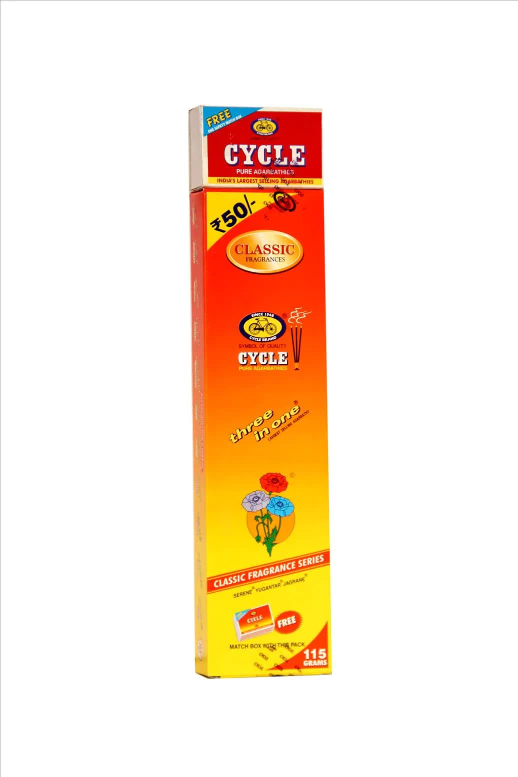 Cycle Classic Fragrance 3 In 1 Puja Agarbattis 115 Gm