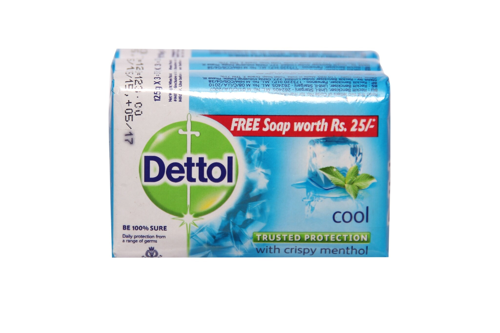 Dettol Cool Soap With Crispy Menthol (Pack Of 3) 125 Gm