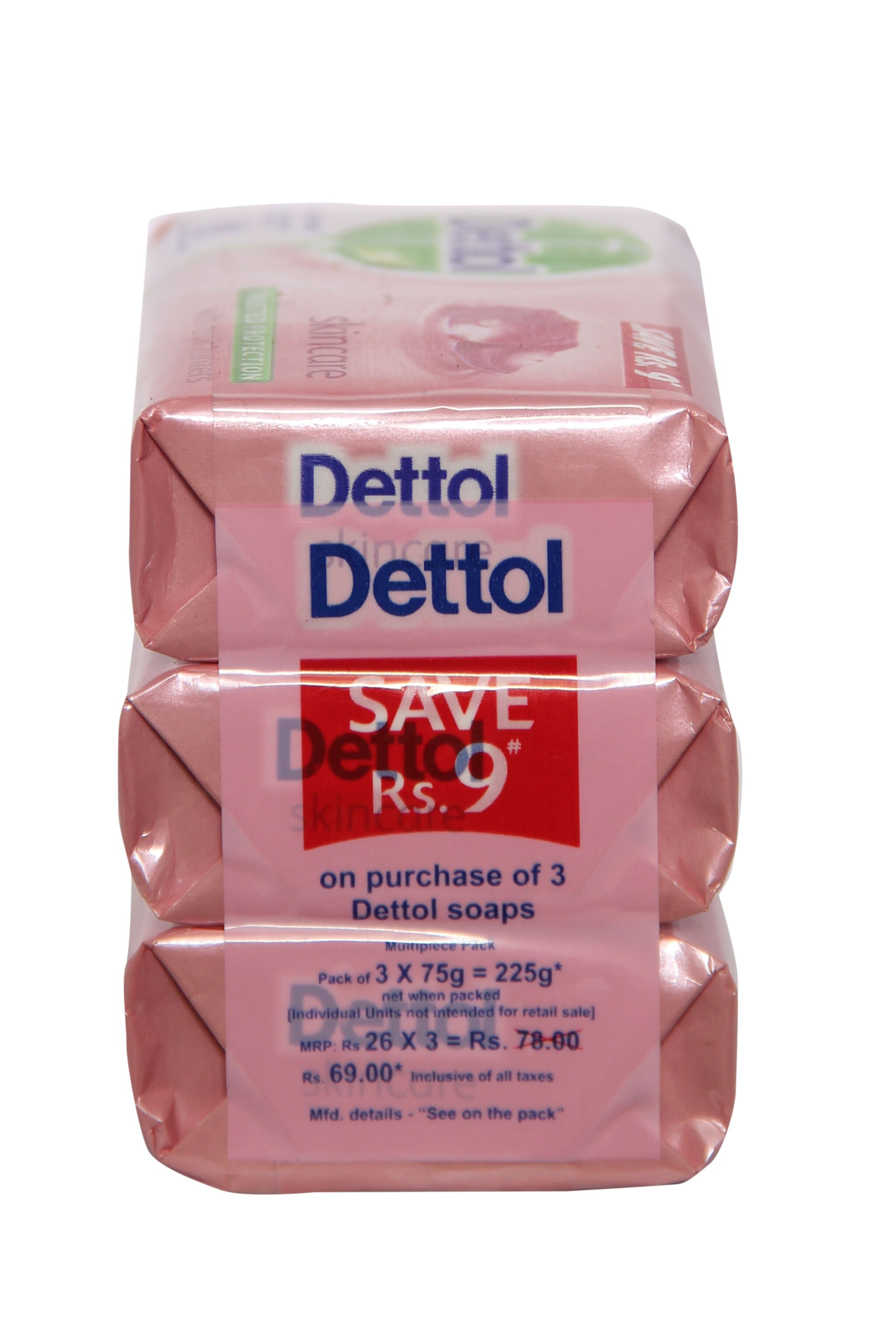 Dettol Skincare With Moisturizers Bath Soap (Pack Of 3) - 75 Gm 225 Gm