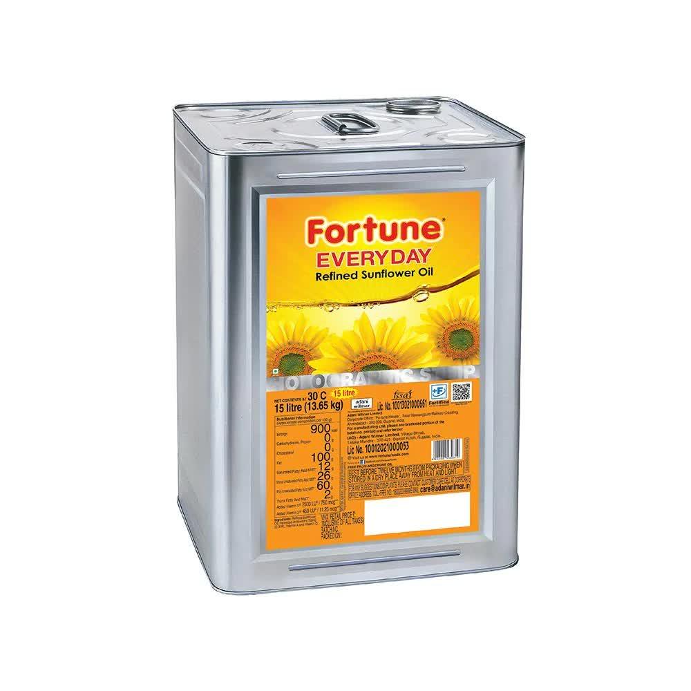 Fortune Everyday Refined Sunflower Oil (Tin) 15 Ltr