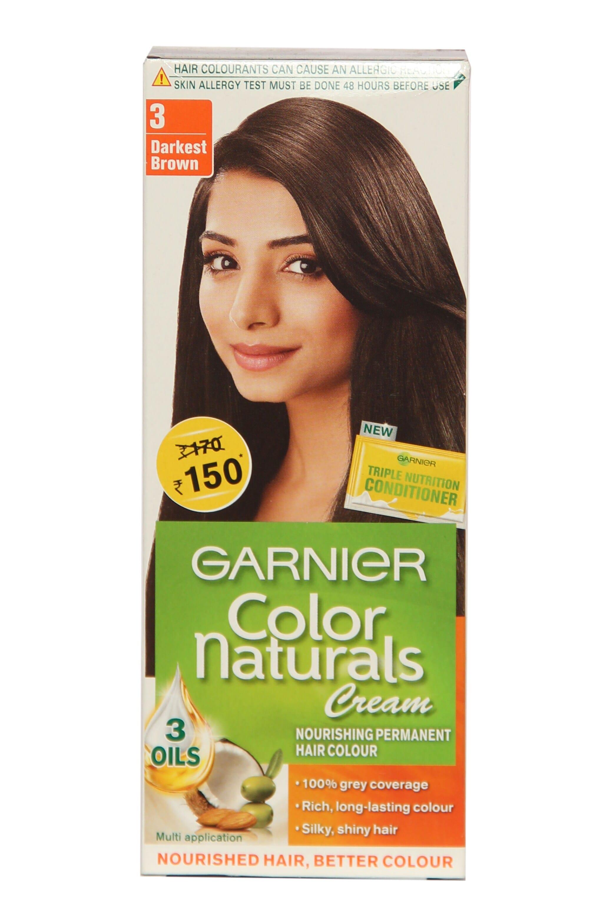 Garnier Color Naturals Cream 3 Darkest Brown Hair Color 1 Kit