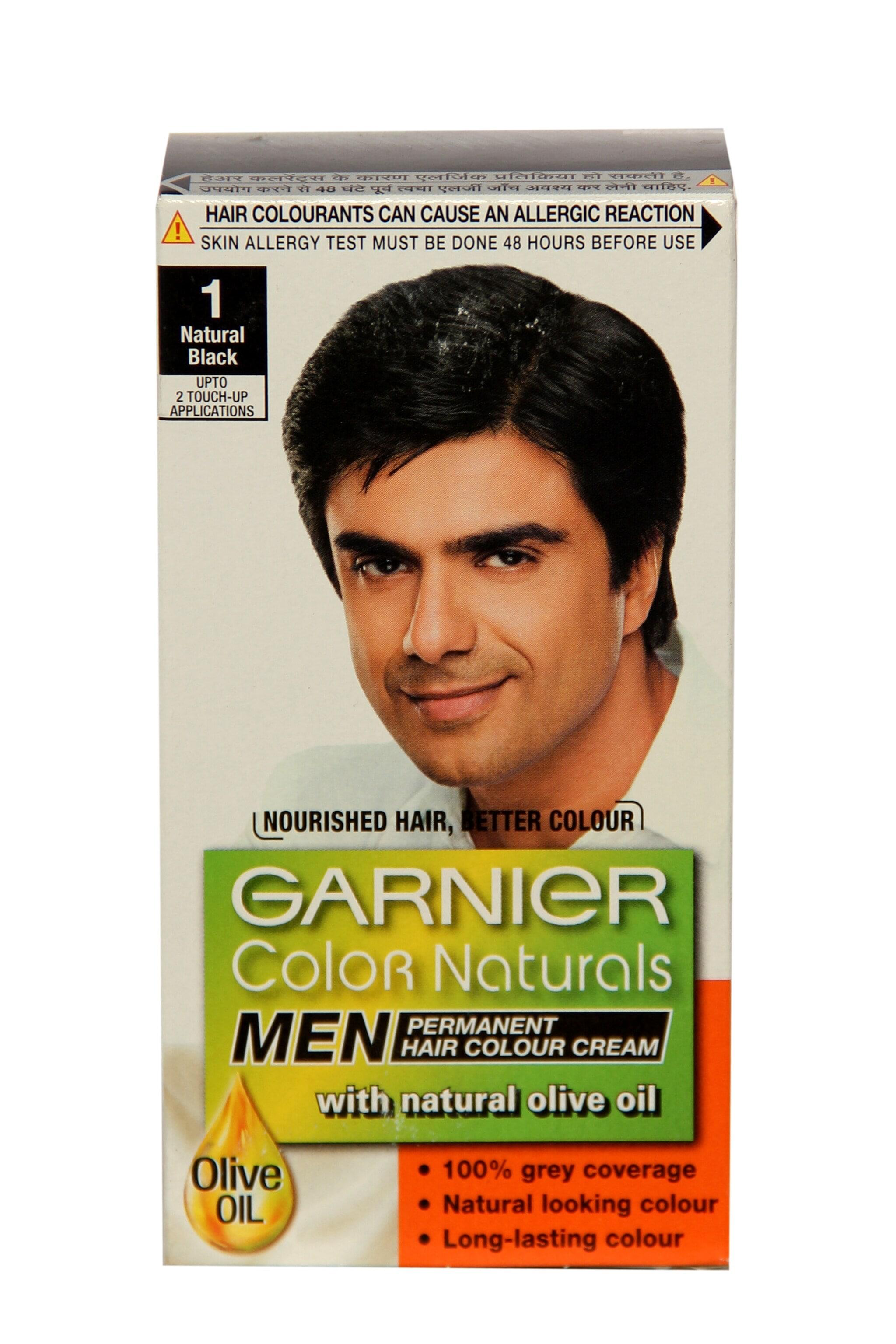 Garnier No.1 Natural Black Hair Colour Cream For Men - 1 Kit 60 Ml
