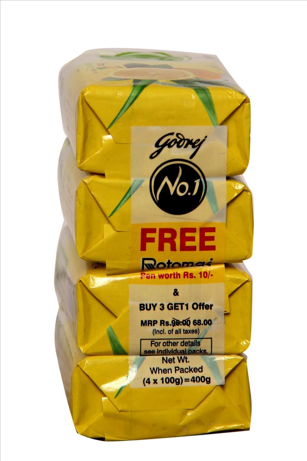Godrej No.1 Lime Aloe Vera Soap (Buy 3 Get 1 Free) 100 Gm