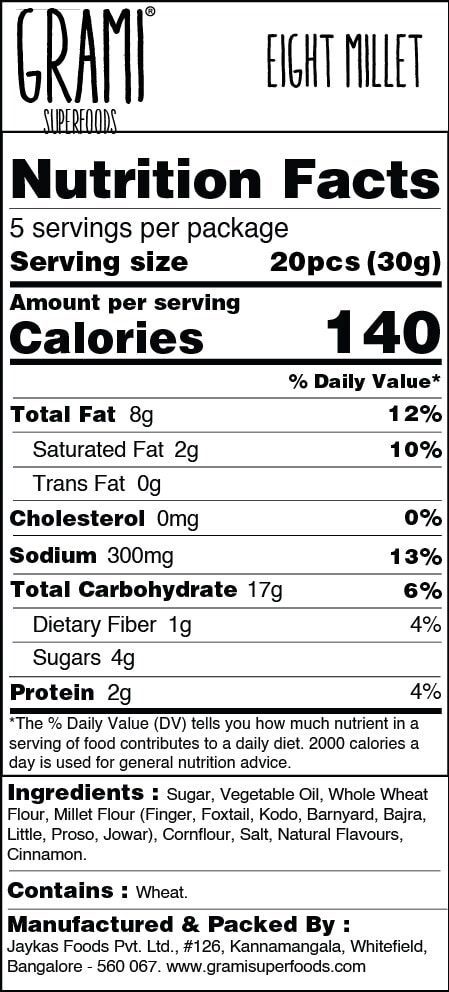 Grami Superfoods Eight Millet Cookies