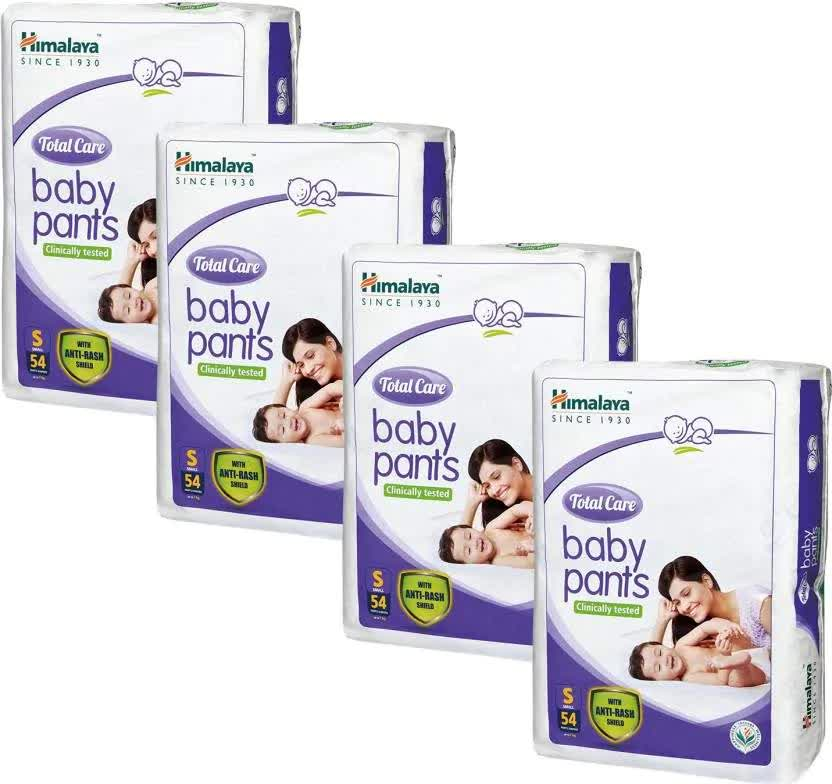 Himalaya Total Care Small Size Baby Pants Diaper (54 Count)Set Of 4 - S 54 Pc