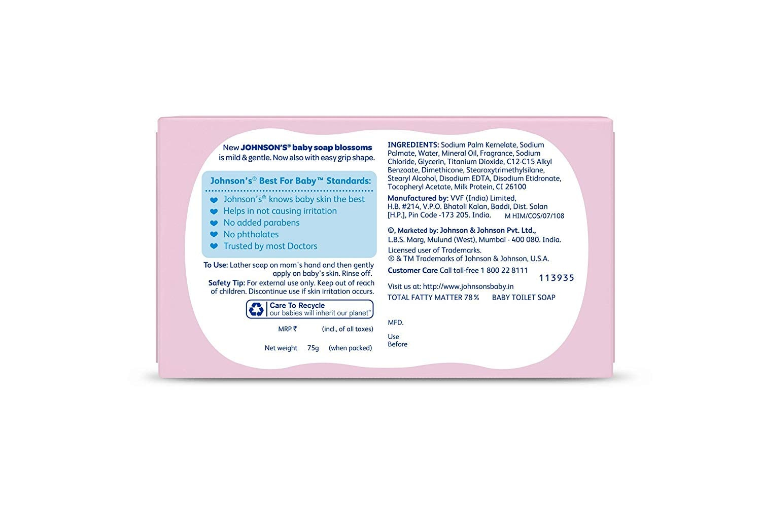 Johnson's Baby Soap Blossoms With New Easy Grip Shape 75 Gm
