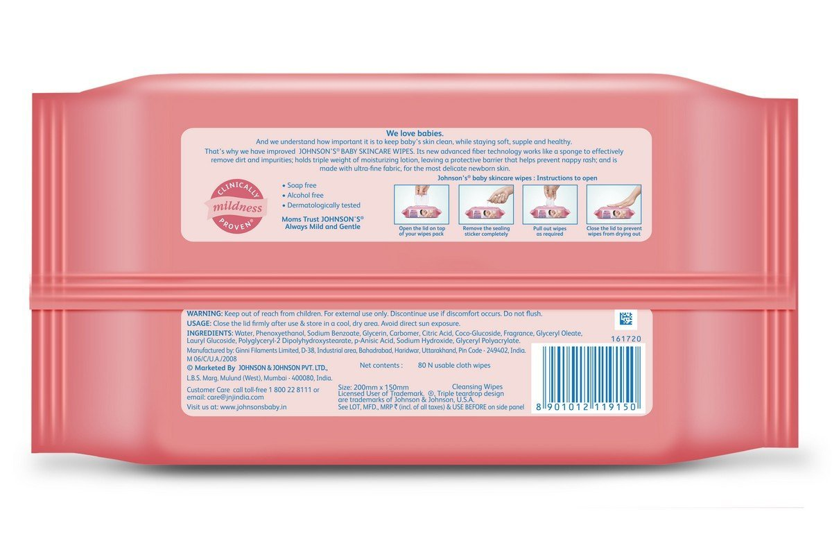 Johnson's Baby Skin Care Wipes 80 Pc