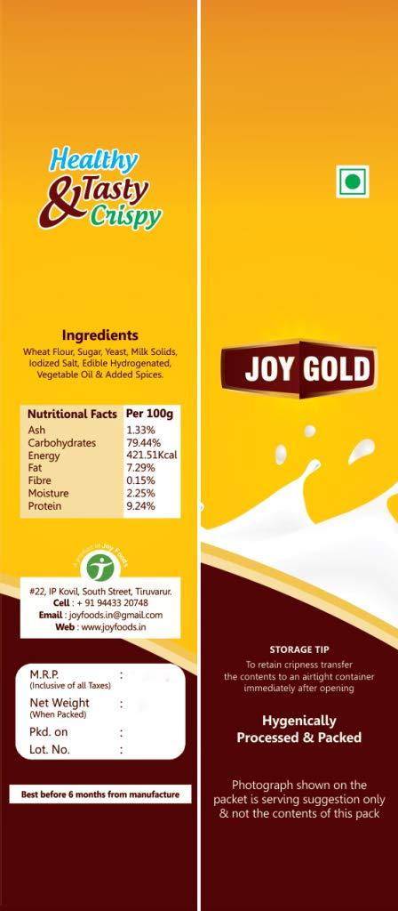 Joy Gold Rusk Tasty And Healthy Rich Wheat Extra Premium Milk Rusk
