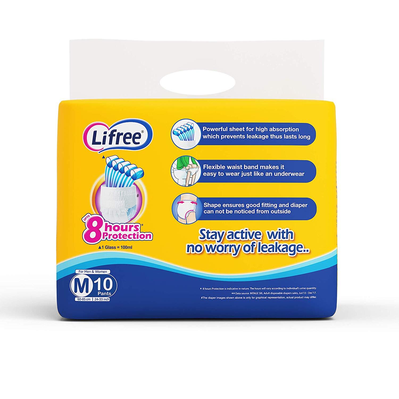 Lifree Extra Absorb Medium Size Diaper Pants 10 Pc
