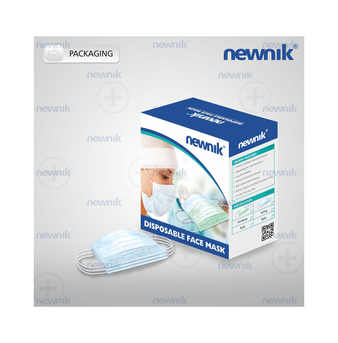 Newnik Disposable Elastic Face Mask 2PLY Blue - 100pc