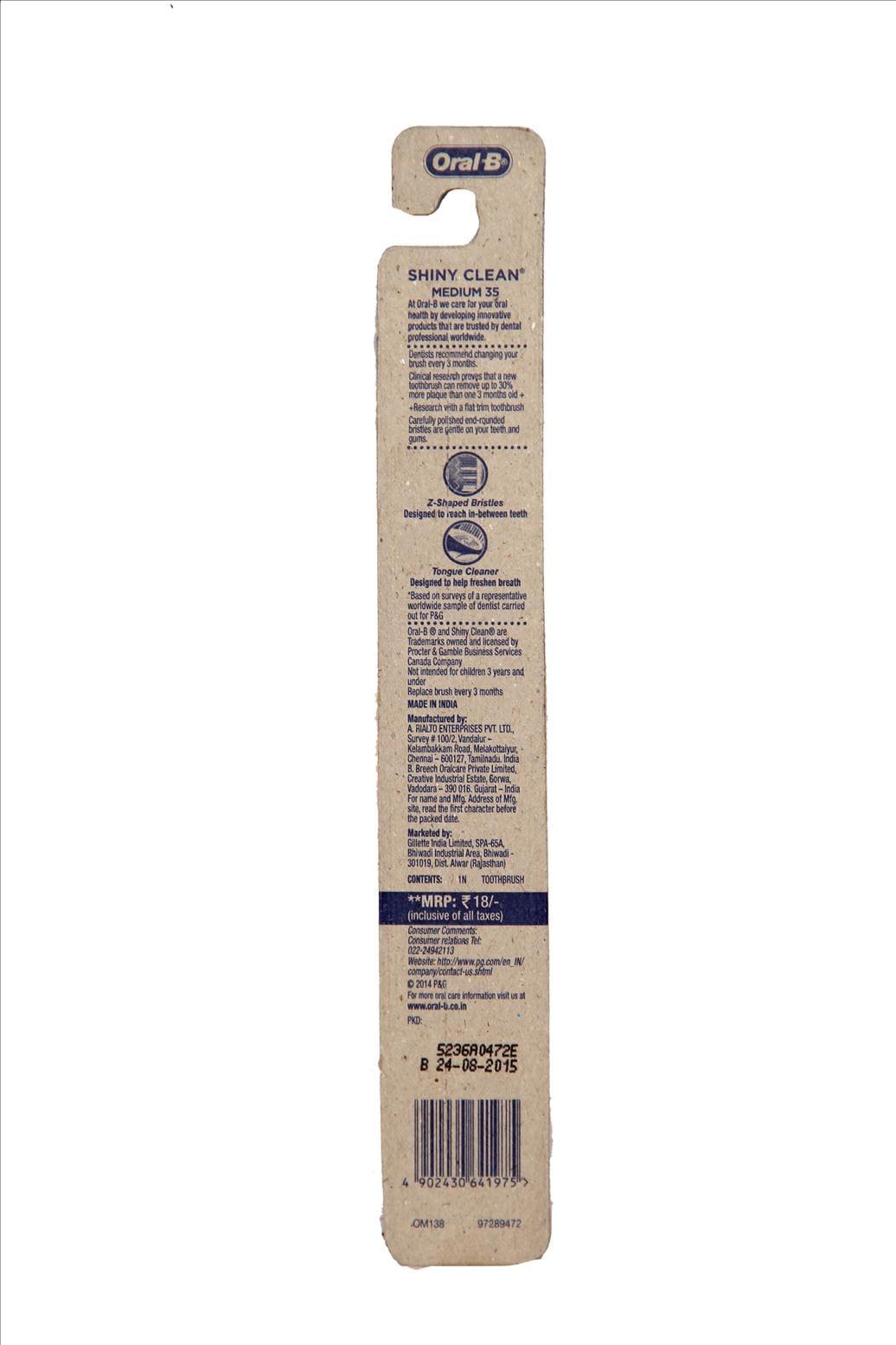 Oral-B Shiney Clean Medium Tooth Brush