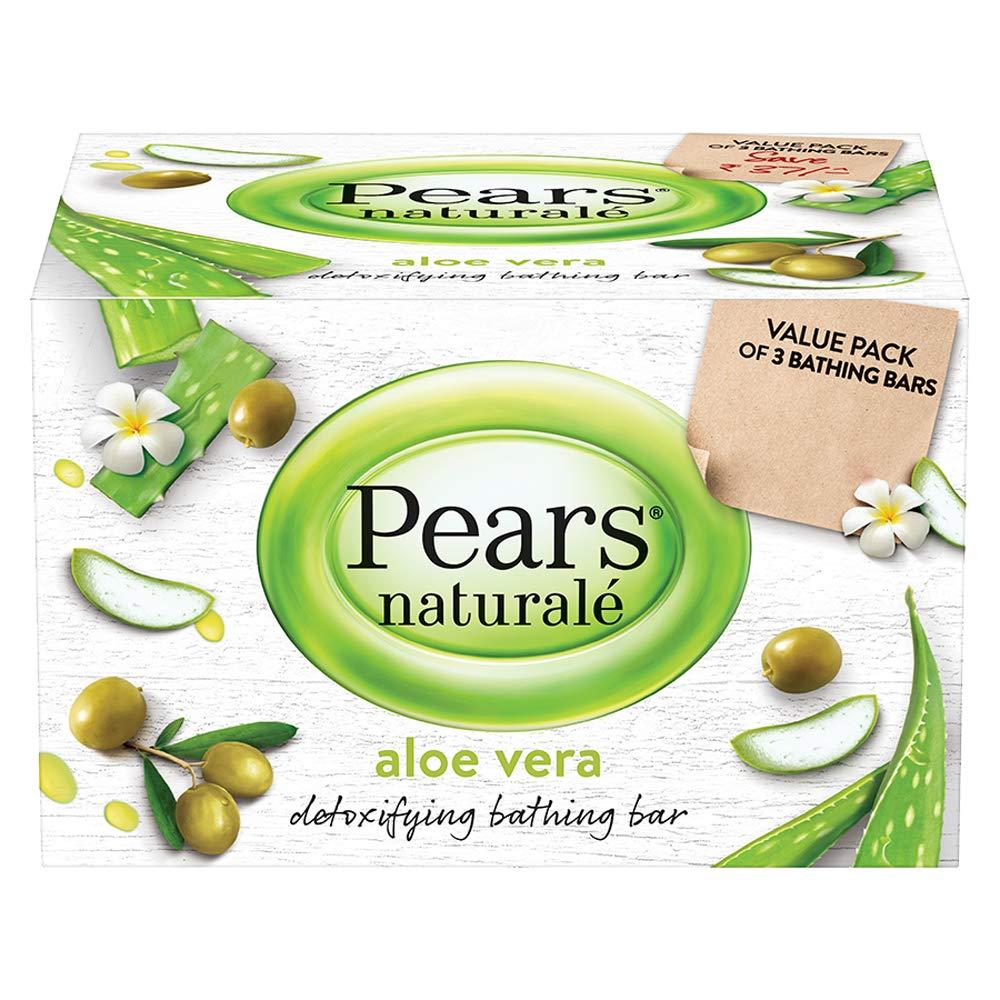 Pears Naturale Aloe Vera Detoxifying Soap Bar (Pack Of 3) 125 Gm