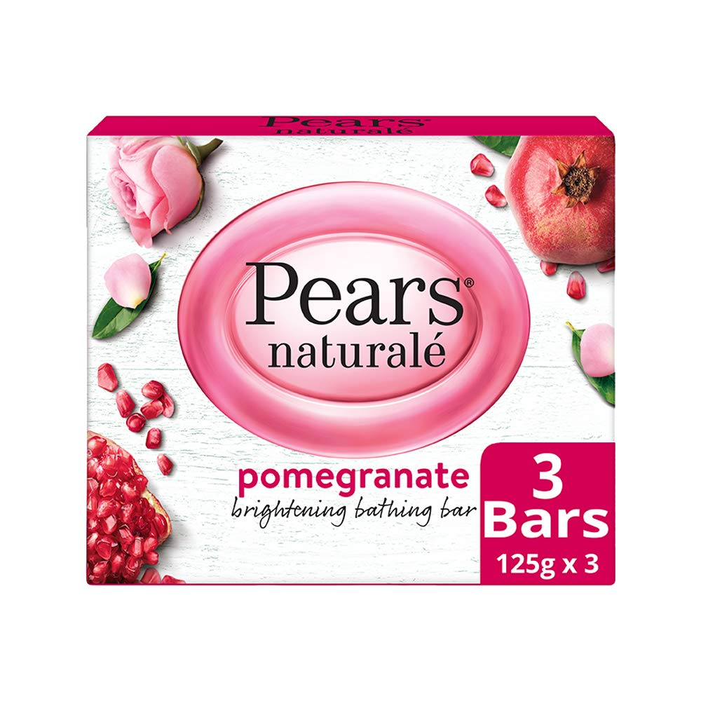 Pears Naturale Pomegranate Brightening Bathing Soap Bar (Pack Of 3) 125 Gm