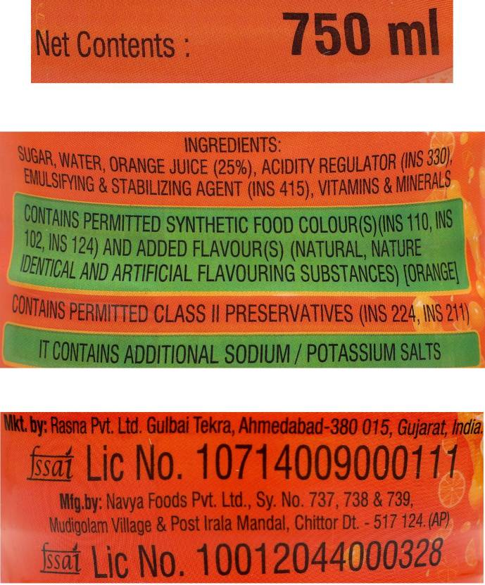 Rasna Fruit Plus 21 Orange Power Squash 750 Ml