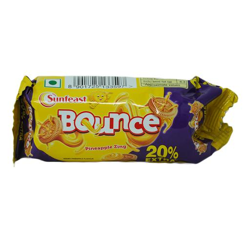 Sunfeast Bounce Pineapple Zing Cream Biscuits (Pouch) 50 Gm