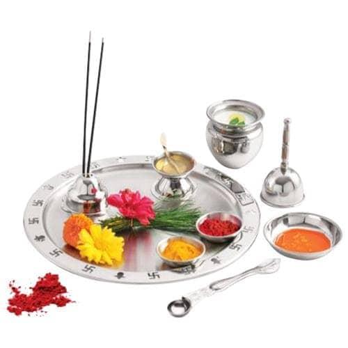 Swastik Steel Stainless Steel Pooja Thali Set Big 5 Pc