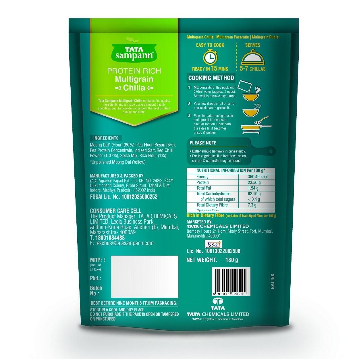 Tata Sampann Multigrain Chilla Mix 180 Gm