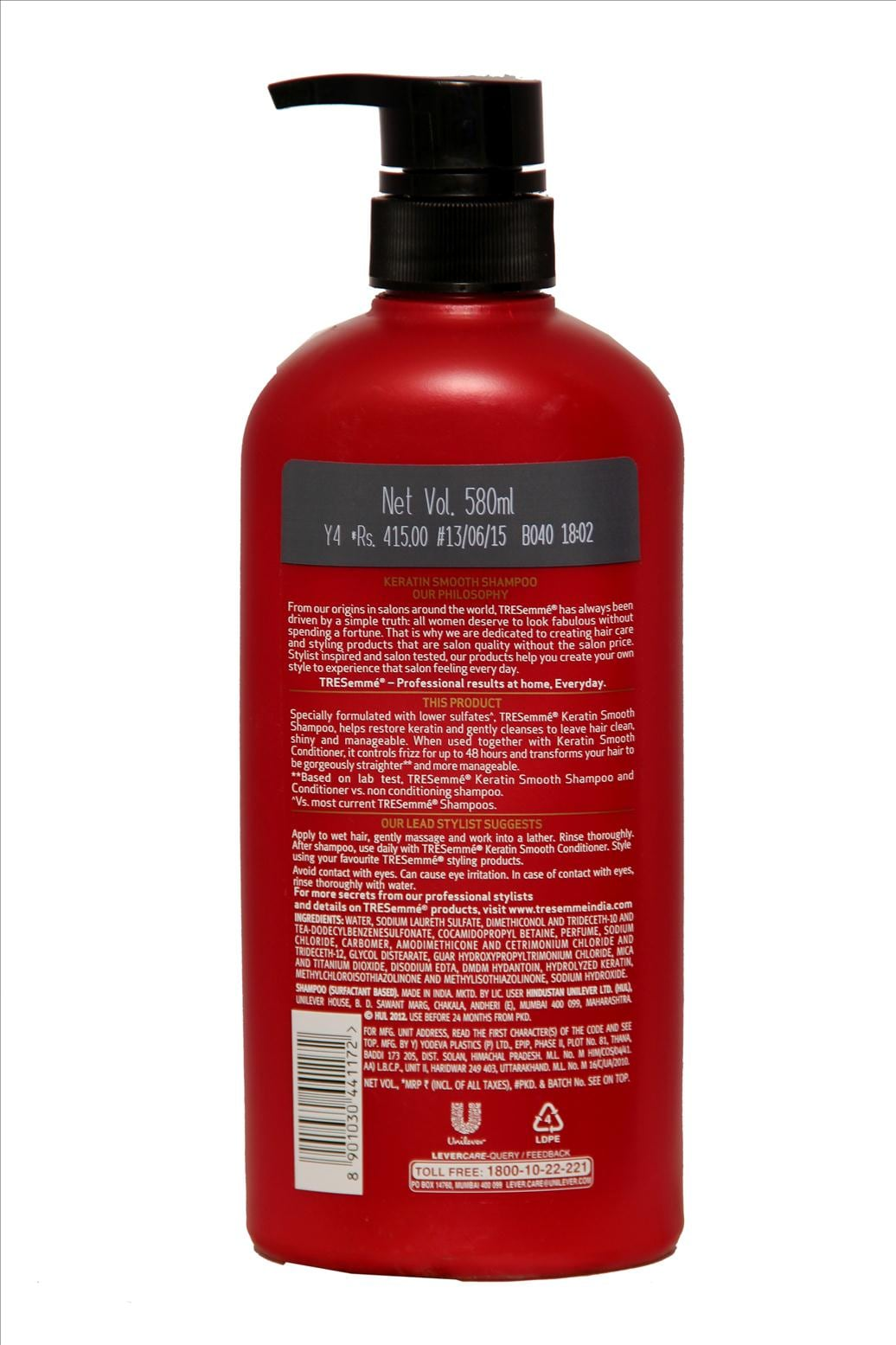 Tresemme Keratin Smooth For Straighter & Smoother Hair Shampoo 580 Ml