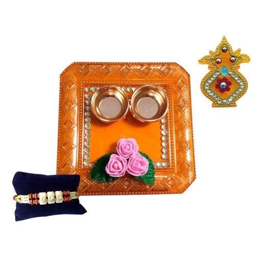 Unique Arts & Interiors Acrylic Pooja Thali With Rakhi & Roli Box Square Multicolour