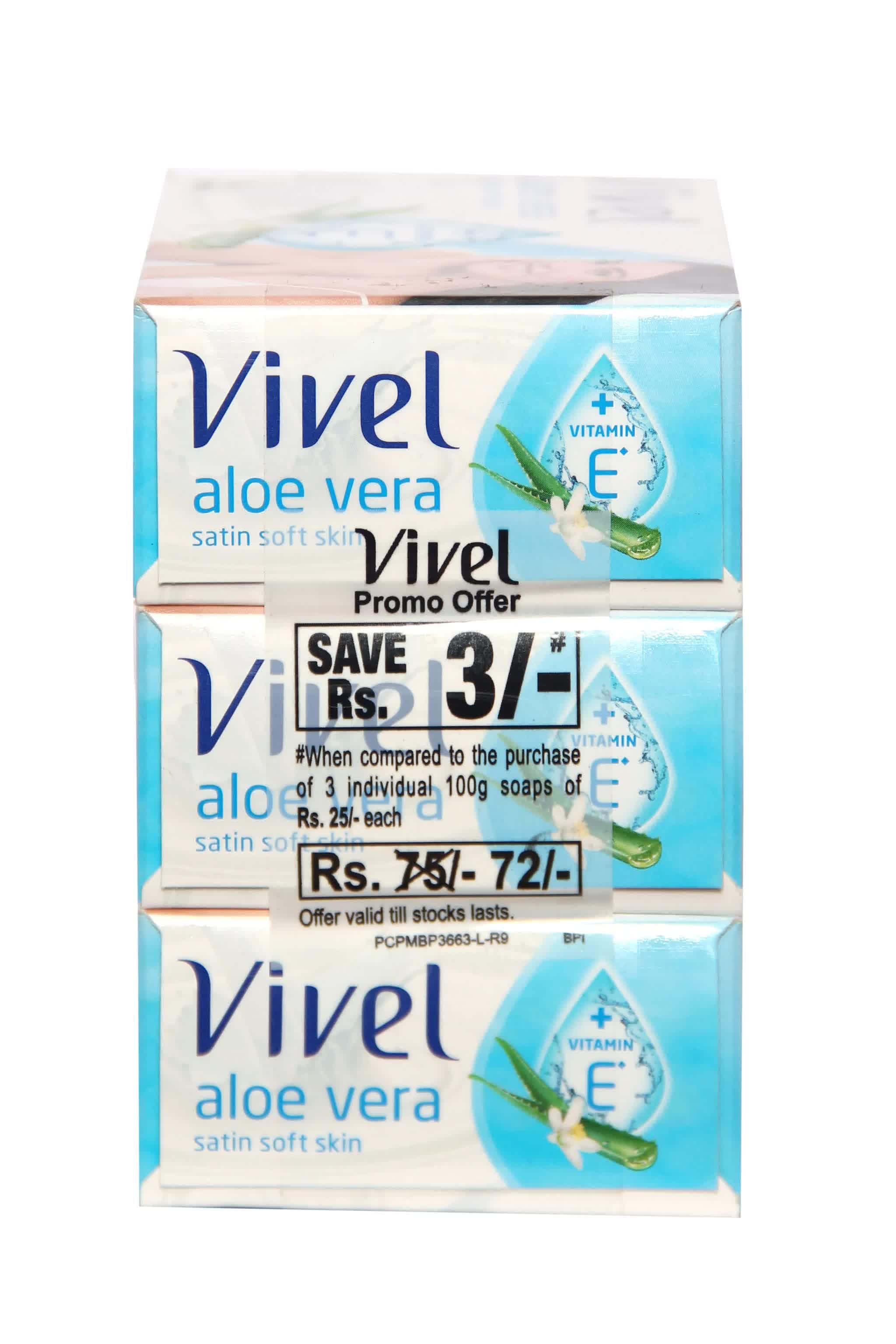 Vivel Aloe Vera Satin Soft Skin Soap (Pack Of 3) 100 Gm