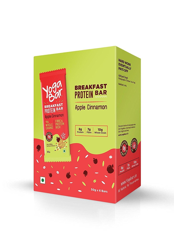 Yogabars Breakfast Protein Apple Cinnamon Bars (Box Of 6) 50 Gm