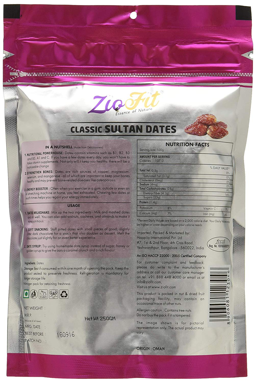 Ziofit Classic Sultan Dates (Buy 1 Get 1 Free) 250 Gm