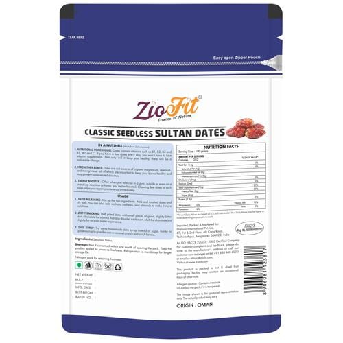 Ziofit Dry Fruits Classic Sultan Seedless Dates 250 Gm
