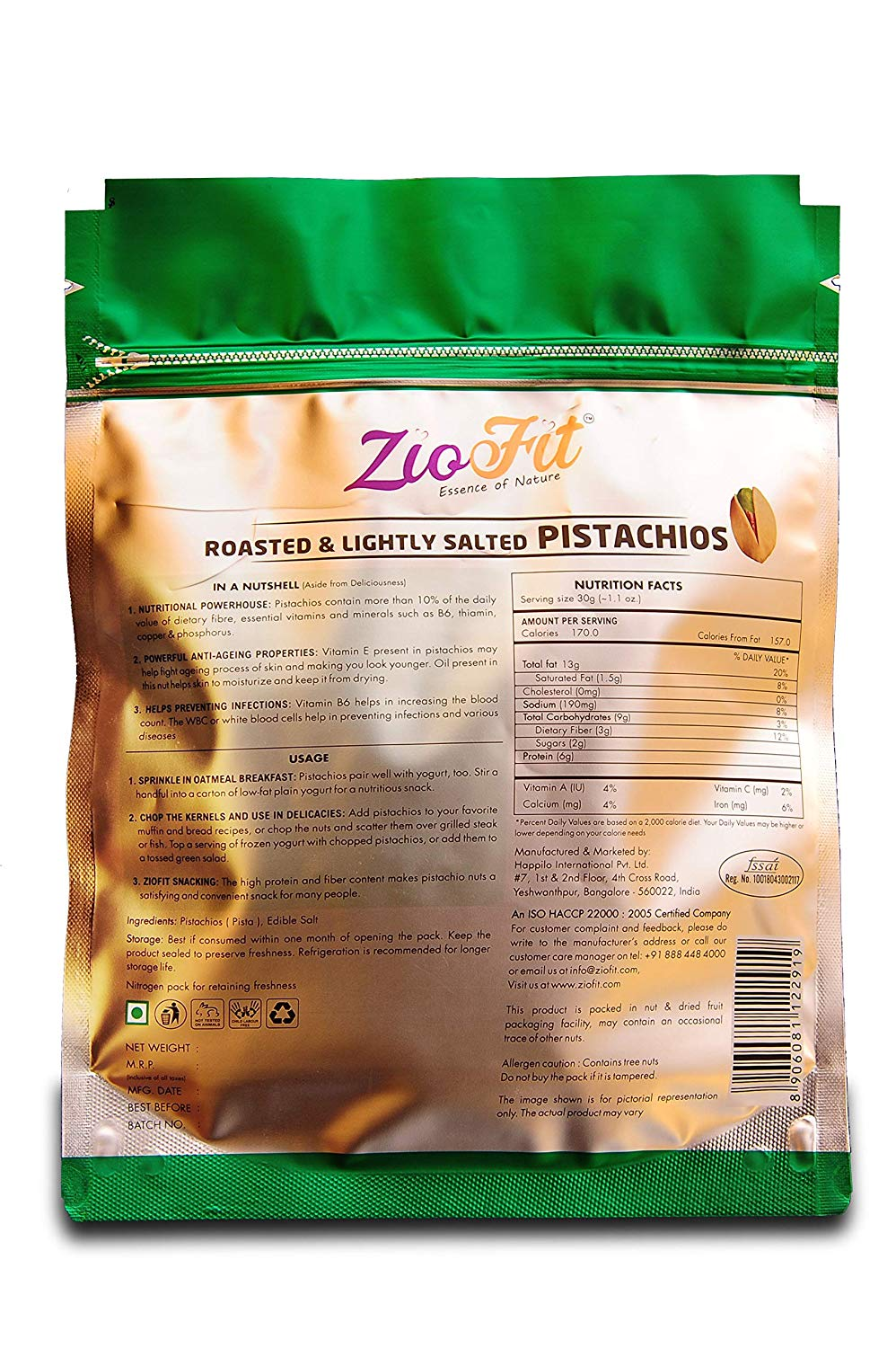 Ziofit Roasted And Lightly Salted Pistachios 200 Gm