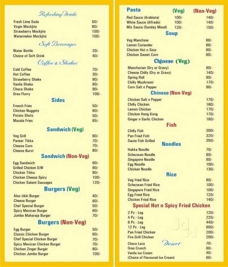 Justdial Hotels: Restaurant Menu Card