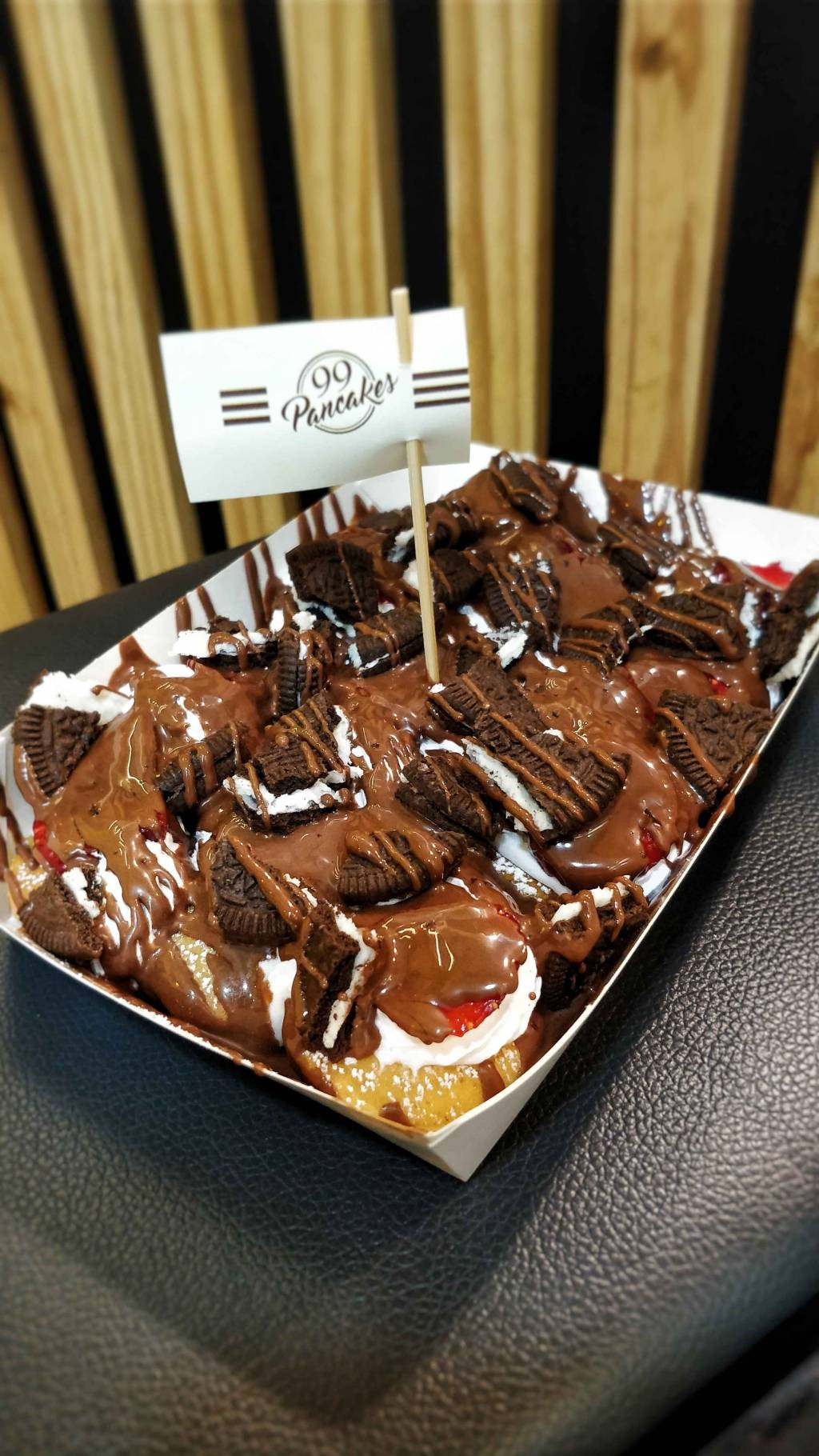 Feast on mini pancakes shakes at this awesome pancake parlour in this we added oreo as our extra toppings the pancakes are sugar coated and topped with all the chocolate sauces strawberry and oreo ccuart Gallery