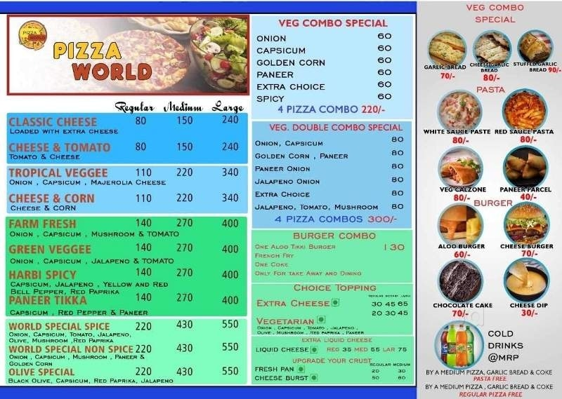 Pizza World Menu \u0026 Price List, Kanpur