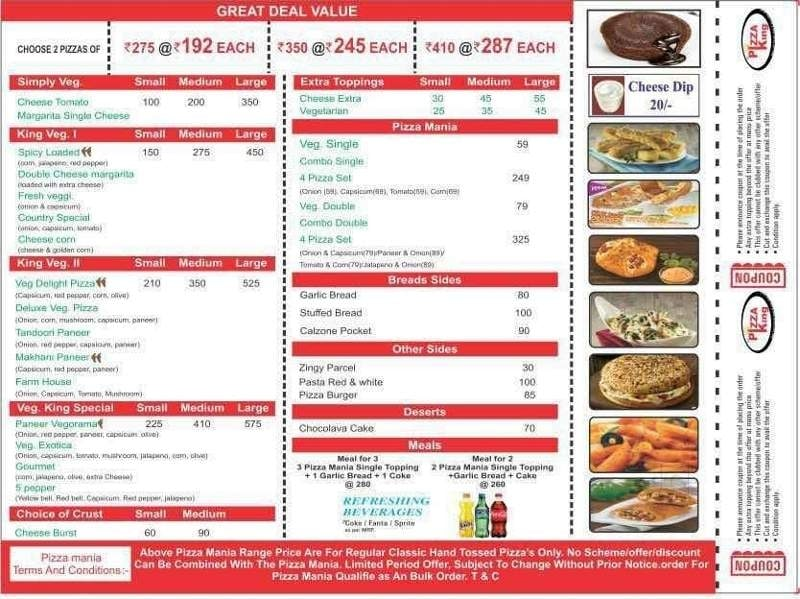 the pizza king menu price list kanpur