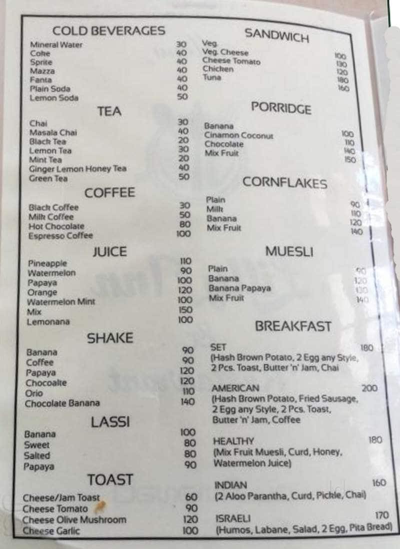 Hotel Liliy Inn And Cafe Manali Food Menu Card Justdial