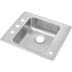 22 Gauge Stainless Steel 25 X 21.25 X 5.375 Single Bowl Top Mount Kitchen Sink