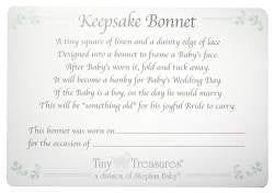 Keepsake Cutwork Handkerchief Christening Bonnet with Straight Hem White