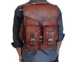 Indian Real Genuine Leather Vintage Roll Top Backpack Rucksack Rolling Bag 002