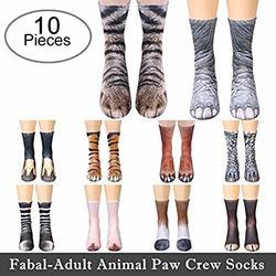 #LEG 3D Animal feet socks Unisex Adult Animal Paw Crew Sublimated Print Socks