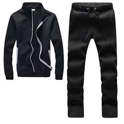 BU2H Men Athletic Tracksuit Full Zip Sports Casual Jogging Gym Sweat Suits Black US L