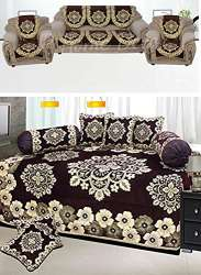 Astonishing Gurnoor Chenille Combo Of Floral Design Diwan Set And Sofa Cjindustries Chair Design For Home Cjindustriesco