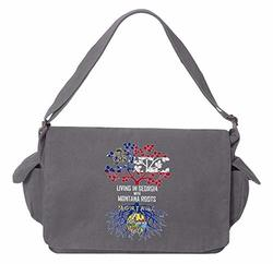 Tenacitee Living In Florida with Iowa Roots Grey Brushed Canvas Messenger Bag