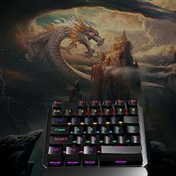Faironly 35 Keys Single Hand Gaming Keyboard USB Wired Keyboard Mechanical Keyboard
